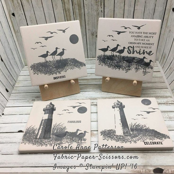 Tile coasters, great use for this coastal set, Stampin' Up!