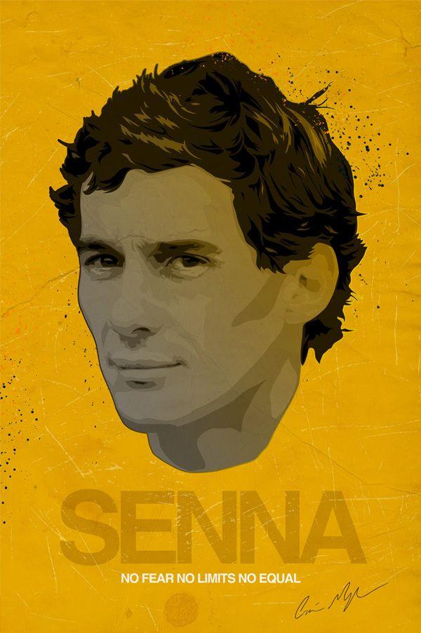 Ayrton Senna Illustration by Ciaran Monaghan, via Behance https://www.facebook.com/pages/Ayrton-Senna-Tribute-2014/674310202636141