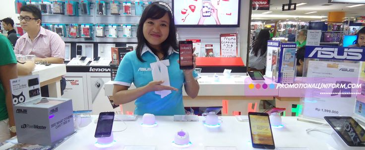 Sexy Elegant Promo Gril Uniform for Asus Mobile Phone. Blue dress for the girl