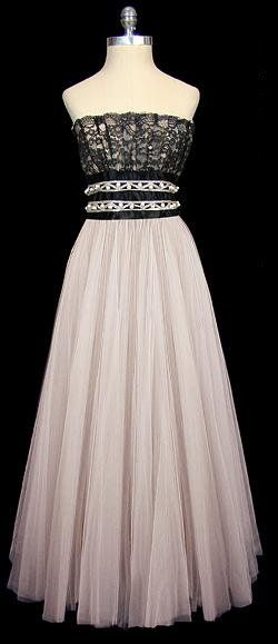 Ceil Chapman Black and White Dress 1950s