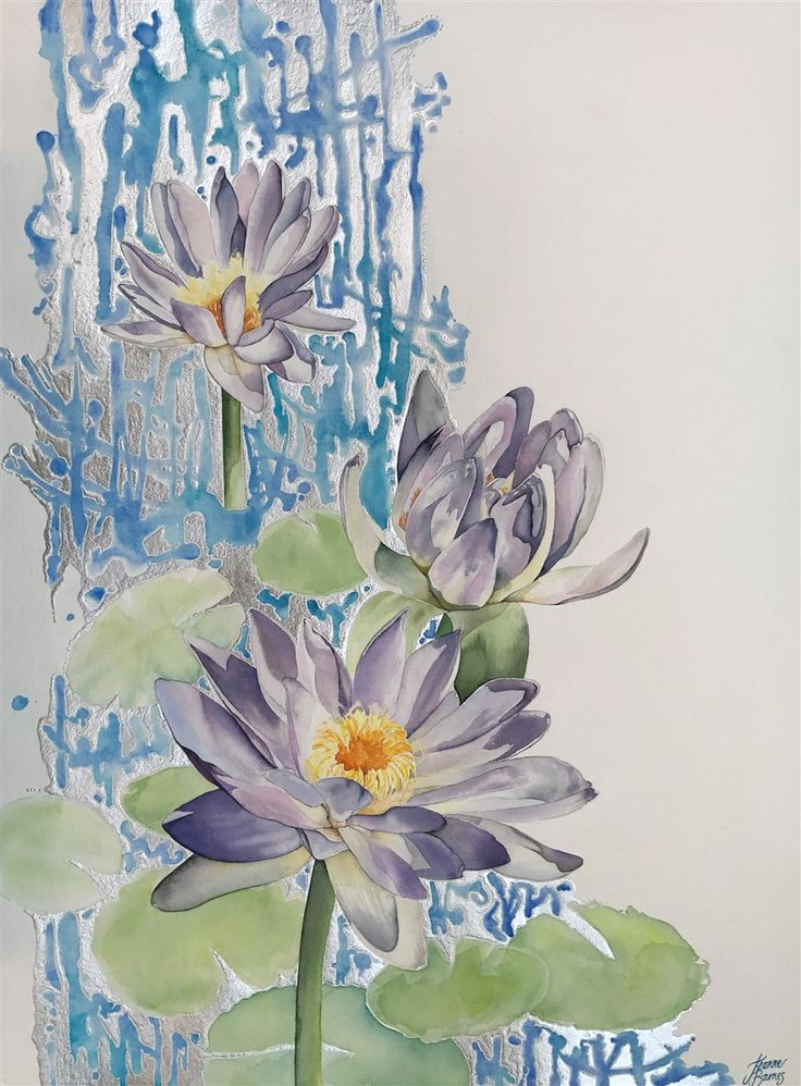 Coolamon Creek Waterlilies. Watercolour and silver leaf on paper by Jeanne Barnes