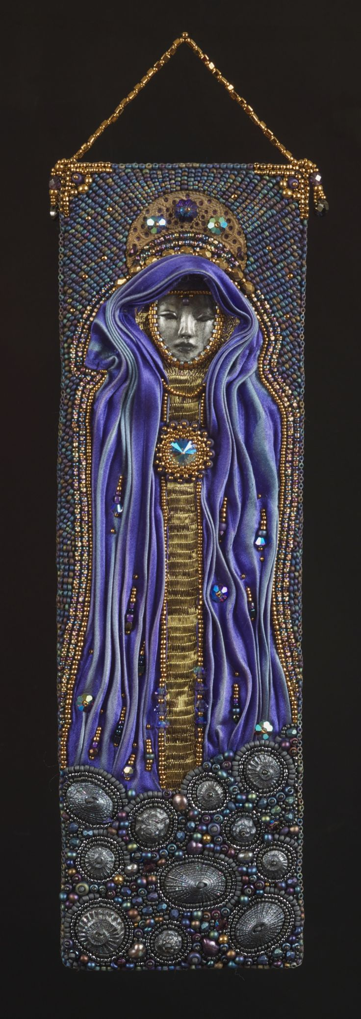 Rising - Bead embroidered wall hanging. www.nedbeads.com