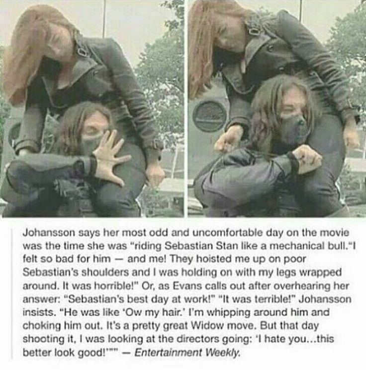 Black Widow riding on The Winter Soldier's shoulder