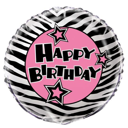 Foil Zebra Print Birthday Balloon, 18""
