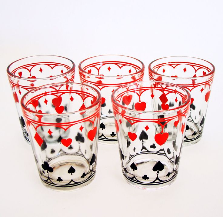 Vintage Playing Card Poker Glasses, Schwartz Mustard Glasses, Set of 5 by FabFindsGentlerTimes on Etsy