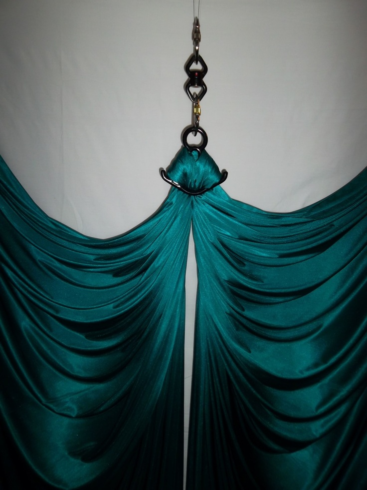 """Teal Aerial Silk with Full Rigging Hardware Circus Equipment 
