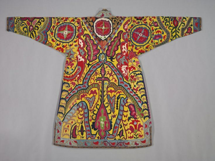 Embroidered Surcoat, Khalat, 1800s Uzbekistan, Shahr-i Sabz, 19th century silk; cross-stitch, embroidery