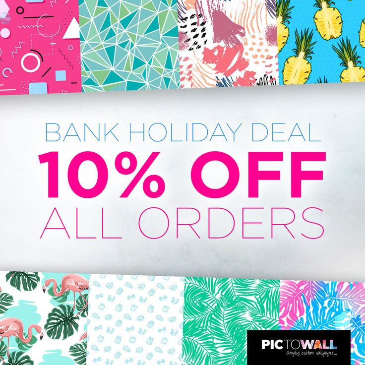 Bank Holiday DEAL - get 10% off all wallpaper orders, use code 'MAYBANK10' at checkout... Valid 1st til 8th May... #BankholidayDEALS #maybankhol https://www.pictowall.co.uk/?coupon_code=maybank10