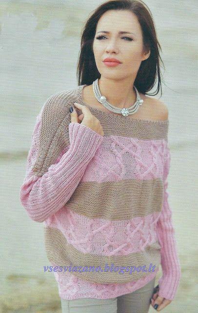 ВСЕ СВЯЗАНО. ROSOMAHA.: Тонкий, но теплый пуловер-наволочка с аранами и полосами.