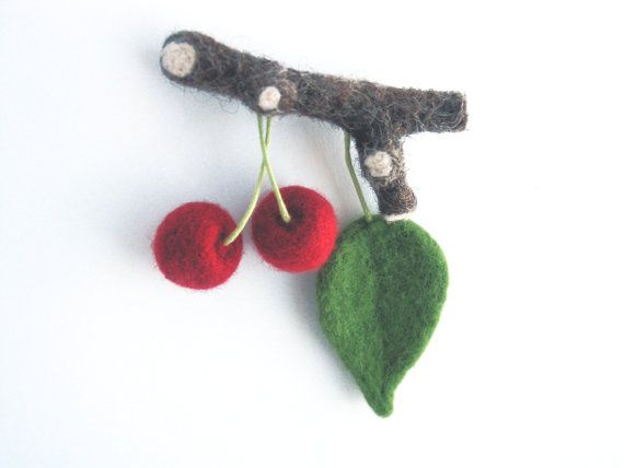 Needle felted cherry on twig needle felted brooch by CraftbyMaryla