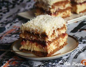 Ciasto bez pieczenia to ostatnio dość popularny deser. Idealny dla osób zabieganych. Dziś pomysł na ciasto kokosowe z kremem budyniowym, dżemem, na herbatnikach