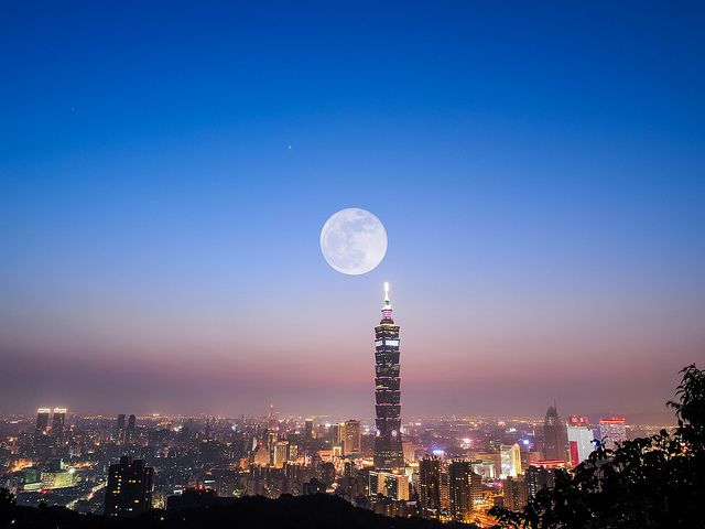Super Moon with Taipei 101, via Flickr.