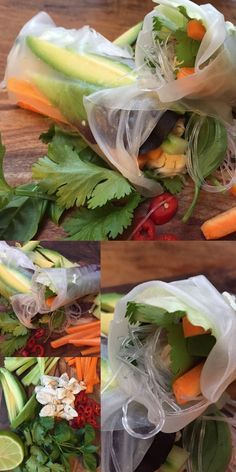 Vietnamesische #Sommerrollen mit Glasnudeln, Avocado, Möhren, Gurke, Kräutern, Hähnchen & selbst gemachten Erdnuss & Chili-Soja-Dip. | vietnamese spring rolls