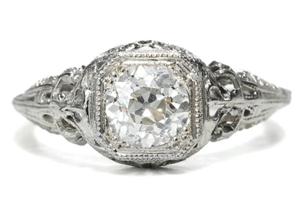 Georgian Jewelry Art Deco Solitaire Diamond Ring