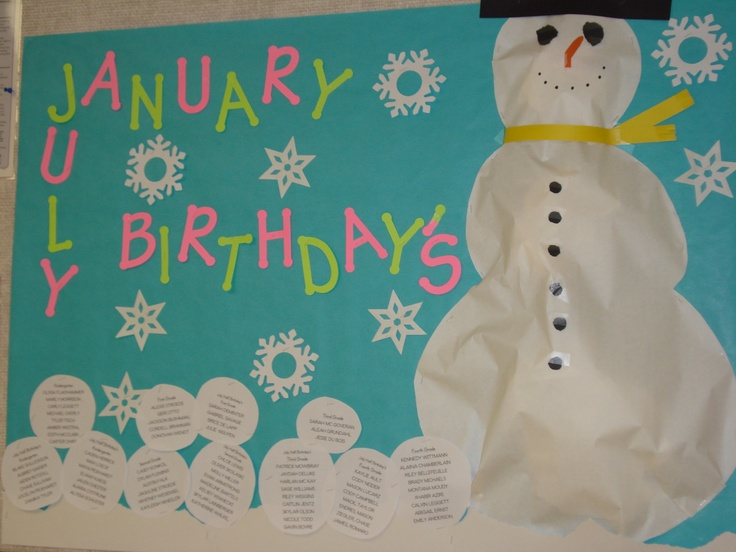 Classroom Ideas For January ~ Best images about birthday board ideas for work on