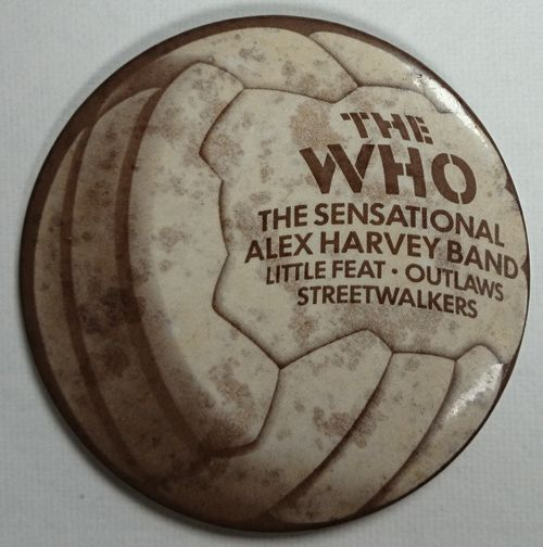 """THE WHO Put The Boot In (Official merchandise 1976 UK circular metal badge measuring approximately 2"""" in size, this was available to purchased at the three shows on the 31st May at Charlton Football Club, 5th June at Celtic Football Club and 12th June at Swansea City Football Club, with the support acts of The Sensational Alex Harvey Band, Little Feat, Outlaws and Streetwalkers"""