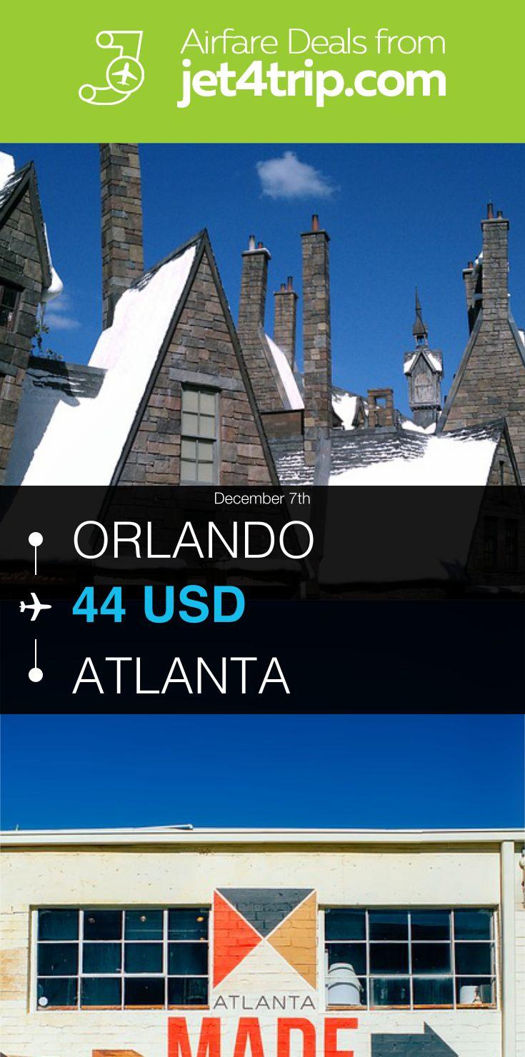 Flight from Orlando to Atlanta for $44 by Spirit Airlines #travel #ticket #deals #flight #ORL #ATL #Orlando #Atlanta #NK #Spirit Airlines