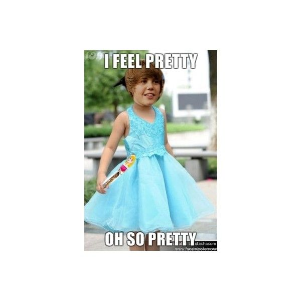 Justin Beiber - I feel pretty Oh so pretty   Meme Generator ❤ liked on Polyvore featuring funny and pictures