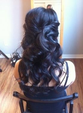 Bridesmaids hairdo half up half down