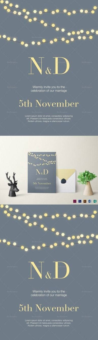 String Lights Wedding Invitation Template$12 - Formats Included :Illustrator, InDesign, MS Word, Photoshop, Publisher - File Size :5.25x7.25 Inchs