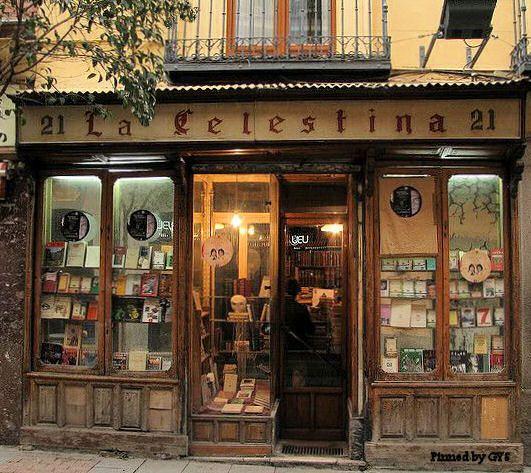 Old bookstore on the street Huertas, Barrio de las Letras, Madrid, Spain