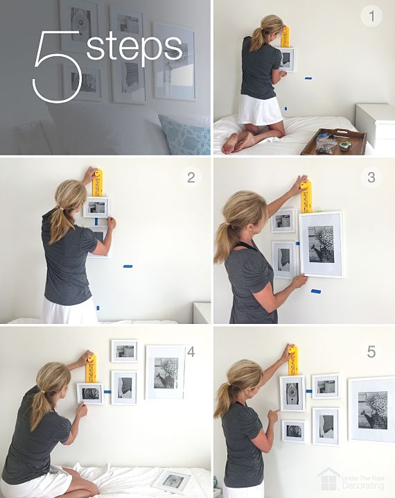 5 easy steps to create a headboard with picture frames. Stylish and inexpensive.