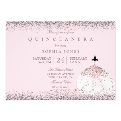 pink rose gold silver quinceanera party invite