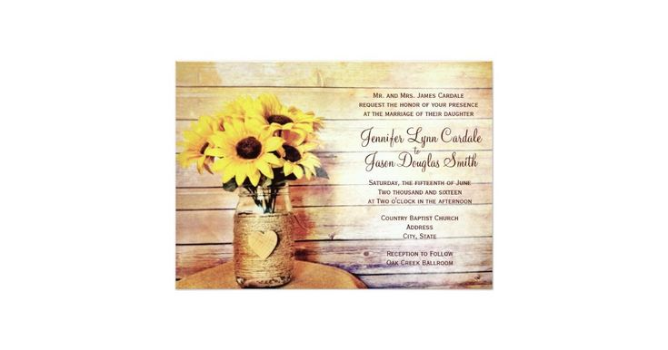 """Twine Wrapped Mason jar with Wooden Heart with Bouquet of Sunflowers Wedding Invitations. These rustic country wedding invitations feature a twine wrapped mason jar with a sunflower bouquet against a rustic distressed barn wood background design. The mason jar also has a wooden heart on the front of it. The same rustic distressed barn wood print is also on the back of the wedding announcement. Just add your wedding invitation wording to the template fields. Use the """"Customize It&qu..."""