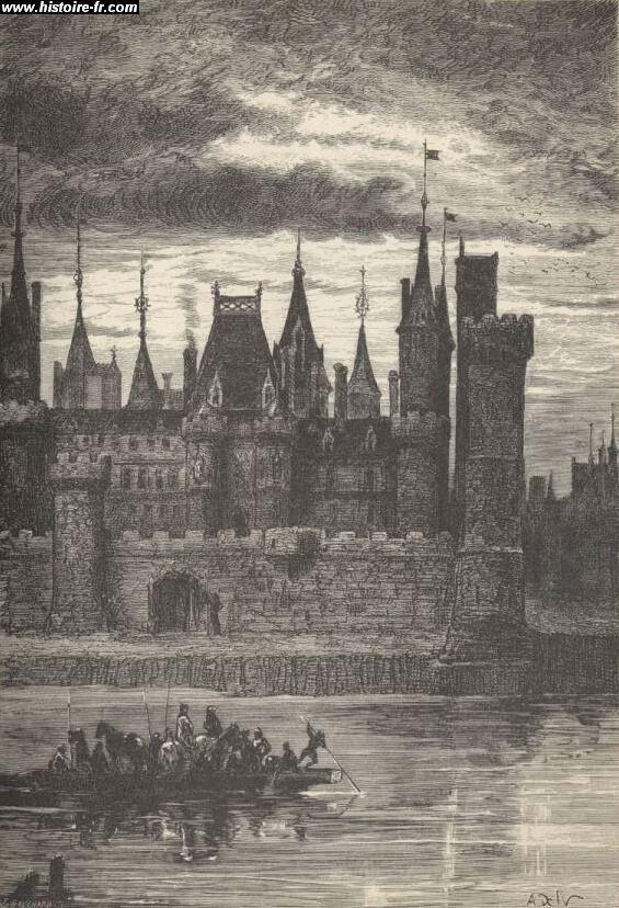 Le Louvre au 14ème siècle, gravure issue de l'ouvrage Histoire de France, par François Guizot, 1875