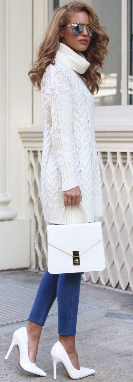 White Wash Turtleneck Dress Holiday Style women fashion outfit clothing stylish apparel @roressclothes closet ideas