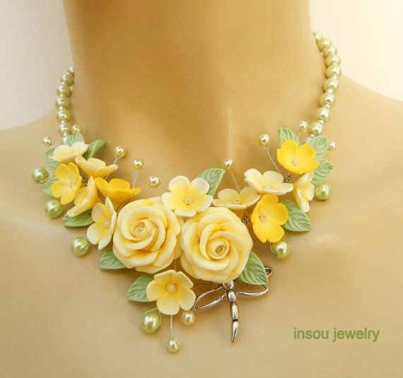 Lemon jewelry Ombre jewelry Roses Handmade by insoujewelry