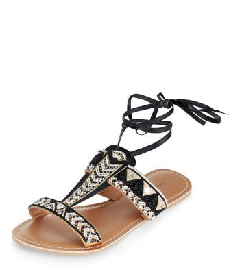 Black Leather Beaded Ankle Tie Sandals