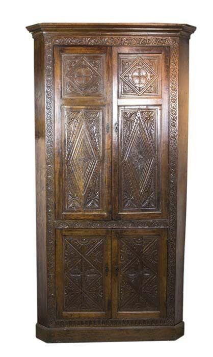 Antique Corner Cabinet   Vintage Corner Cabinet   Carved Oak   1870   B460 #Victorian