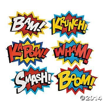 Turn your party into a Superhero comic book by putting these large paper cutouts up on walls and windows. Includes 6 cutouts with assorted comic sayings in red,