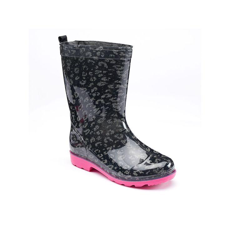 Girls 4-16 Capelli Glitter Leopard Rain Boots, Girl's, Size: 10/11, Oxford