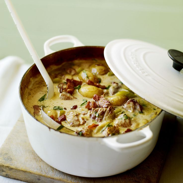 A creamy, mustardy pork casserole recipe that makes a refreshing change from heavy, wintry stews