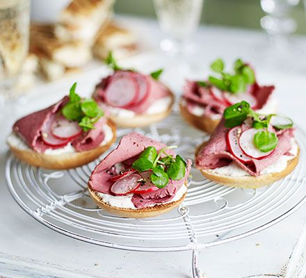 Mini salt beef bagels: These tangy, delicate little bites make a great addition to finger sandwiches for a sophisticated Mother's Day afternoon tea