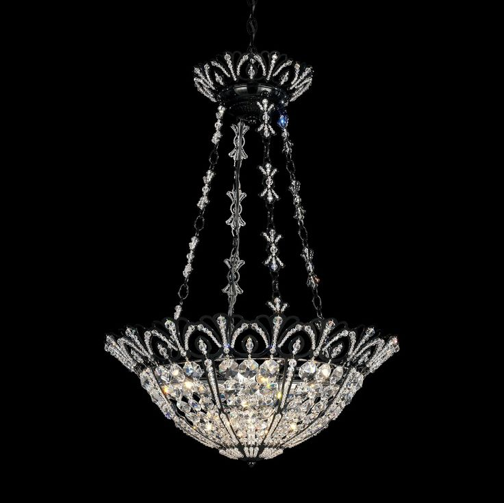 An original Schonbek design, Tiara was inspired by the bejeweled coronets once worn by women of fashion for formal occasions. Extensive handwork is involved in bezelsetting crystal jewelry beads into the chandelier's lacy framework.
