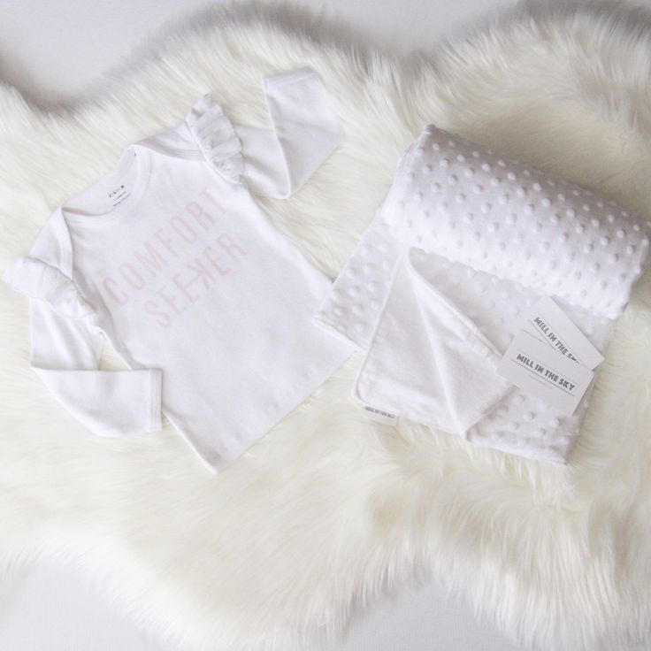 Comfort Seeking time  Don't forget that all our baby blankets are now available in 2 sizes! Just choose from the drop down bar in link  0-6 month size or 0-12 month size! This is the super soft white Addison blanket. Night night xo