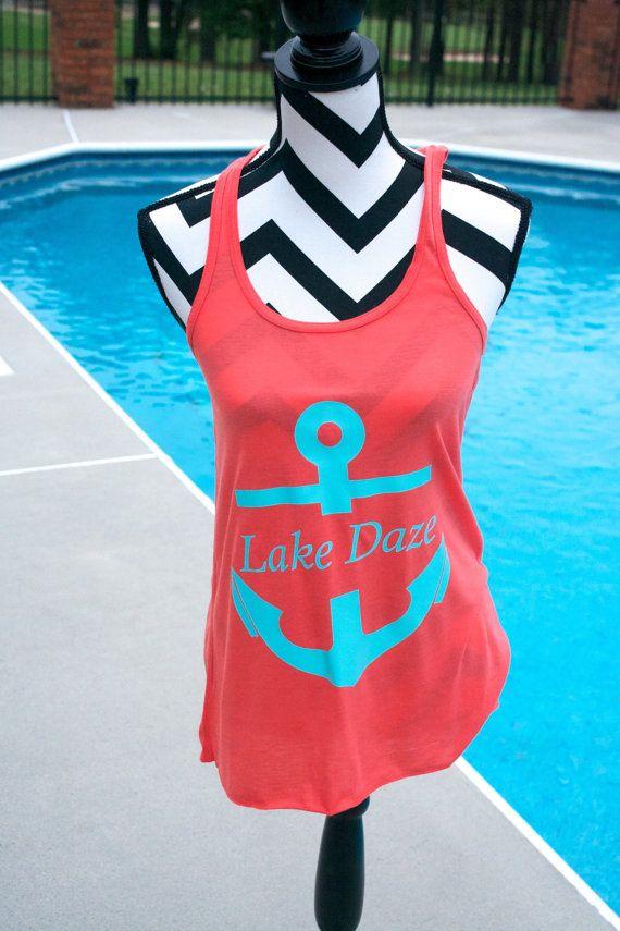 Lake Daze Anchor Tank Top. Lake Tank Top. Summer by ElleQDesigns