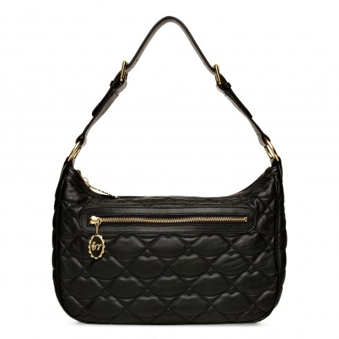 Black Quilted Lips Leather Mid Ruby | Totes | Handbags | Lulu Guinness.com