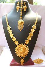 22k Gold Plated Indian Designer Necklace Tikka Earrings Party Wedding Set Necklaces & Pendants