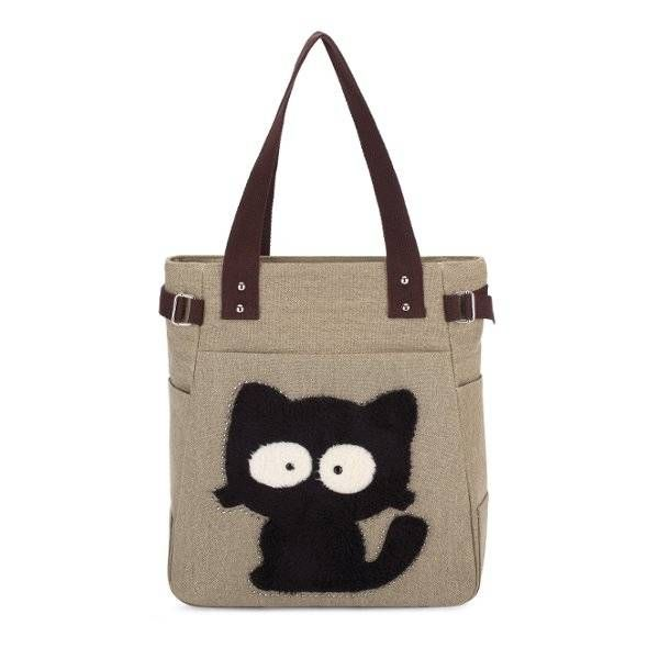 Women Cartoon Cat Canvas Bags Casual Embroidery Animal Prints Shoulder Bags Tote - US$17.99