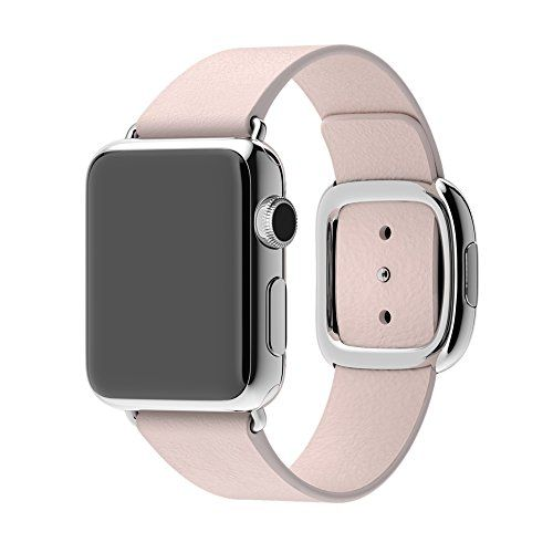 https://smartwatchestopinfo.com/apple-watch-sport-review/   For Women's 38mm Apple Watch, Apple Watch not Included Large Fit (Fits wrists 160-180mm) Soft Pink Leather Band