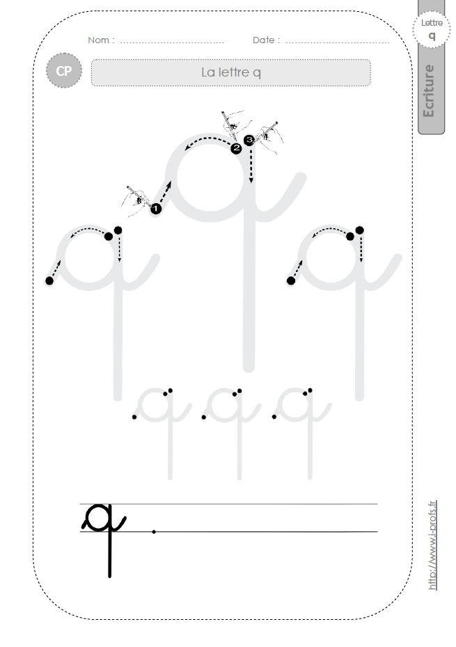 la lettre q au CP:FICHES d'ECRITURE. Modèles d'écriture