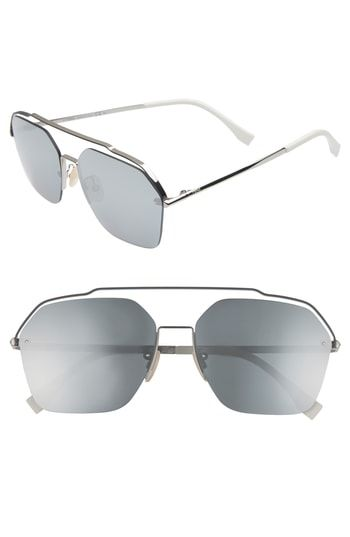 7509a381c7c FENDI 61MM NAVIGATOR SUNGLASSES - RUTHENIUM.  fendi