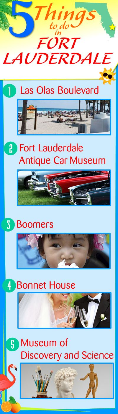 5 Things to Do in Fort Lauderdale, FL: 1. Museum of Discovery and Science 2. Las Olas Boulevard 3. Bonnet House 4. Boomers 5. Fort Lauderdale Antique Car Museum #fortlauderdale #ftlauderdale #thingstodo #sofla