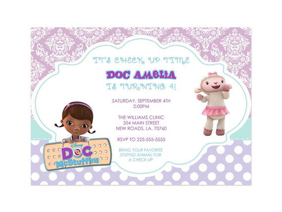 Doc McStuffins Birthday Invitations #docmcstuffins #party ...