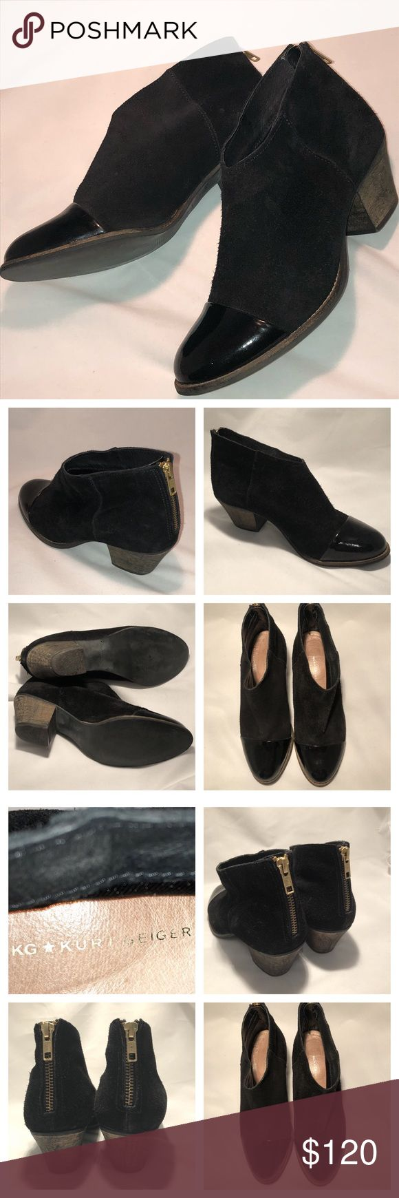 Kurt Geiger Suede & Patent Leather Cap Toe Boot 39 Kurt Geiger Suede & Patent Leather Cap Toe Boot size 39. This bootie fits a size 8 best. Gorgeous black suede & Patent leather toe. Made in Portugal. Nice to dress up a pair of jeans or for work. kurt geiger Shoes Ankle Boots & Booties