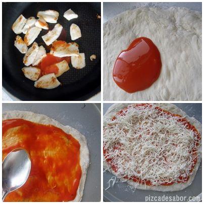 Pizza de pollo con salsa estilo Buffalo - Pizca de Sabor
